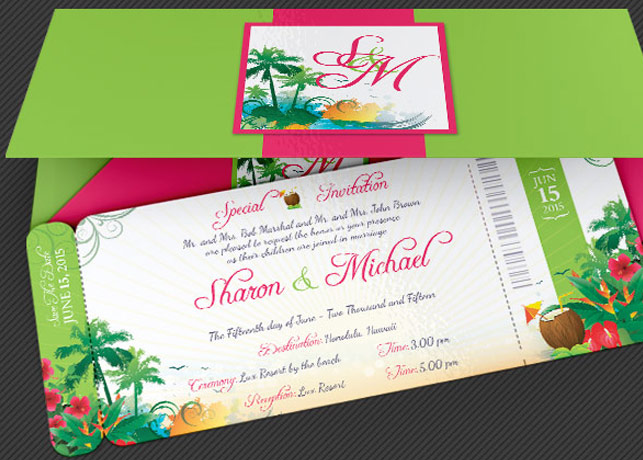 Amazing Wedding Boarding Pass Invitations GraphicMule