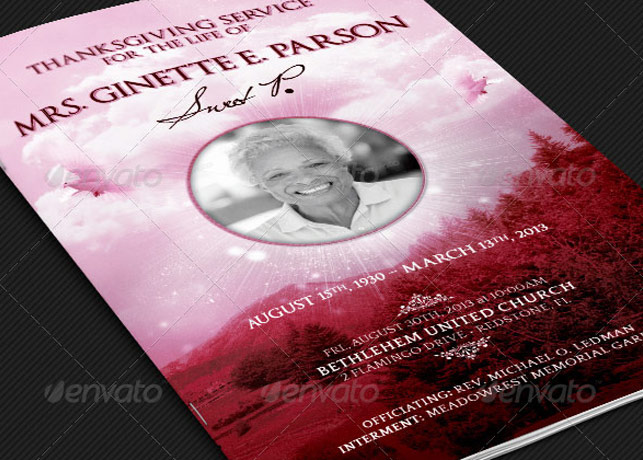 Obituary Templates Photoshop and Publisher – Father Funeral Program Template