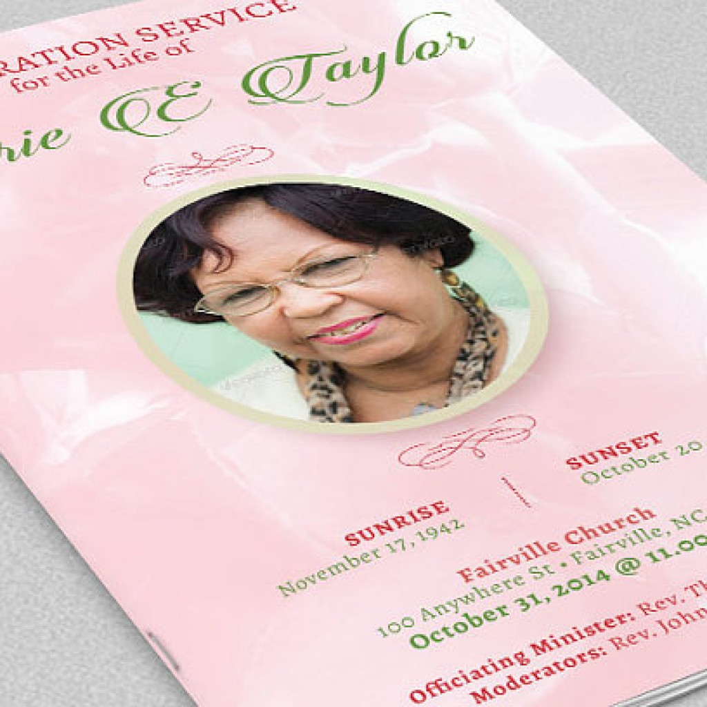 Pink Roses Funeral Program Obituary Templates