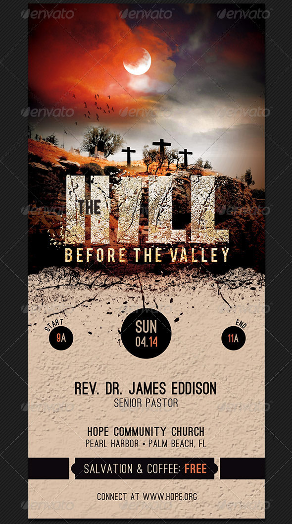 Hill Before The Valley Church Rack Card Template