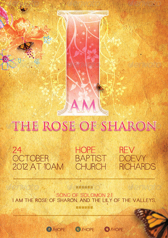 I Am The Rose of Sharon Church Flyer Template