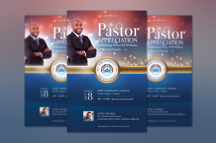 Pastor Appreciation Flyer Poster Template | GraphicMule
