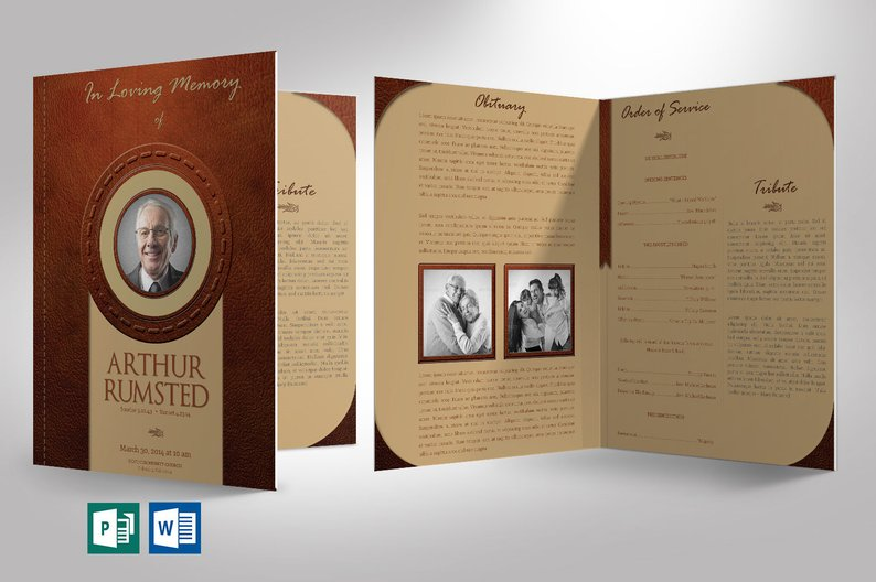 Leather Funeral Program Publisher Template