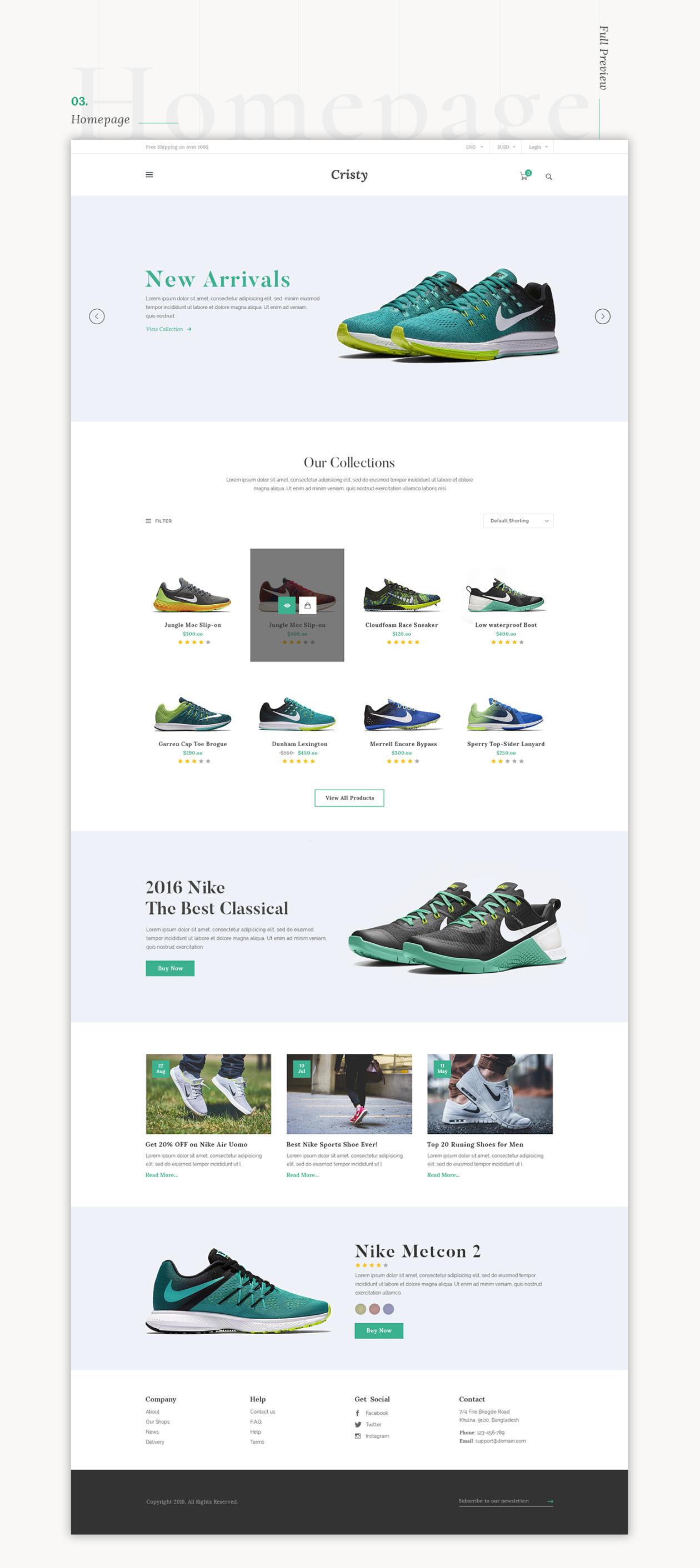 Cristy E Commerce Website Template