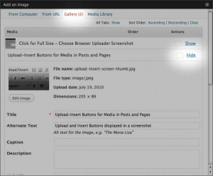 A screenshot of how to insert images on WordPress pages and posts from your pre-uploaded images in the Gallery.