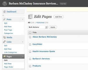 Screenshot of Pages Main Dialog in WordPress Dashboard