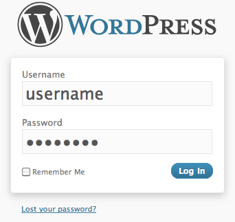 WP-admin login page dialog screenshot