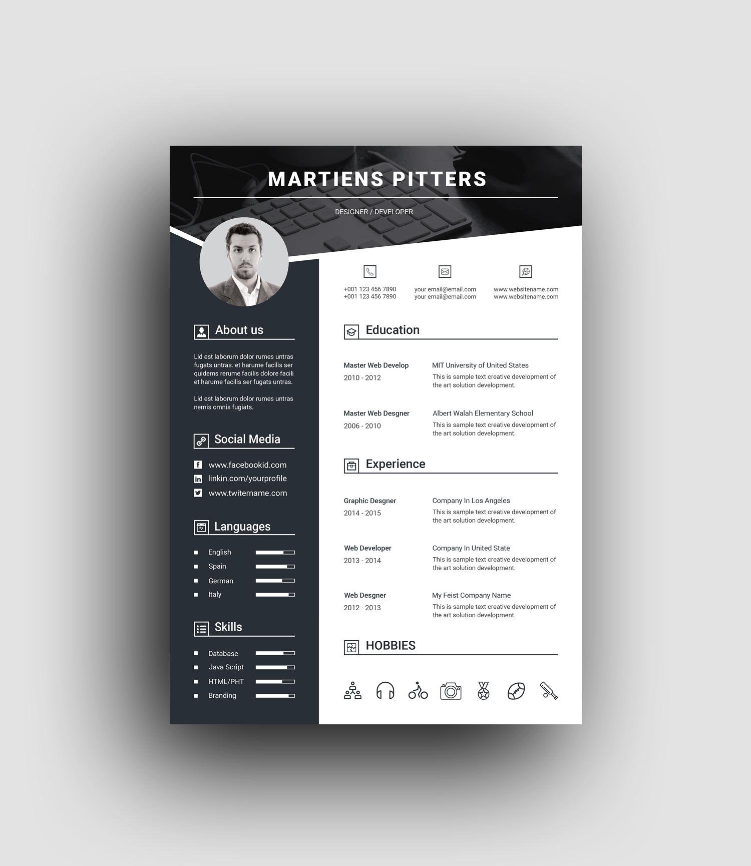 Berlin Premium Professional Resume Template Graphic Prime