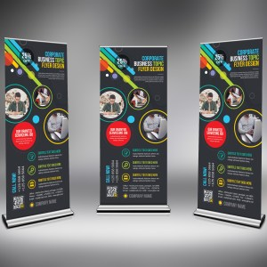 PSD Vibrant Roll-Up Banner Template