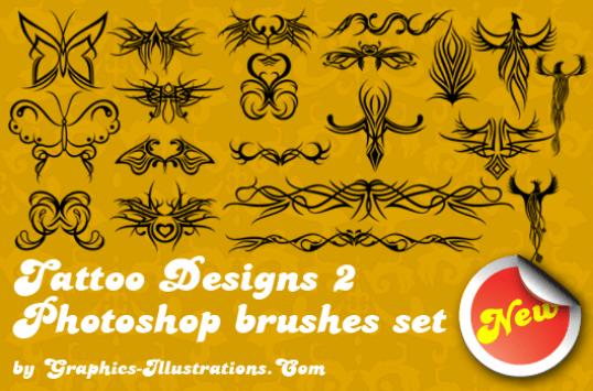 Photoshop brushes set: Tattoo Designs 2