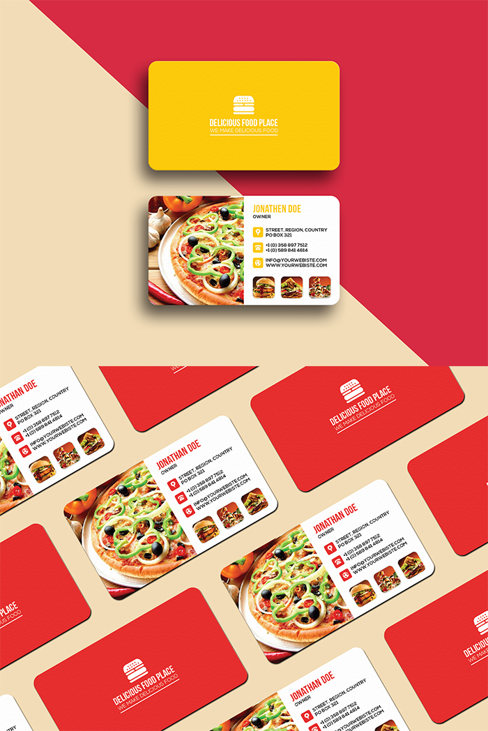 Delicious food business card template graphicsegg here is free delicious food business card template well suitable for food truck pop up restaurant fast food fast casual buffet cafe family style cheaphphosting