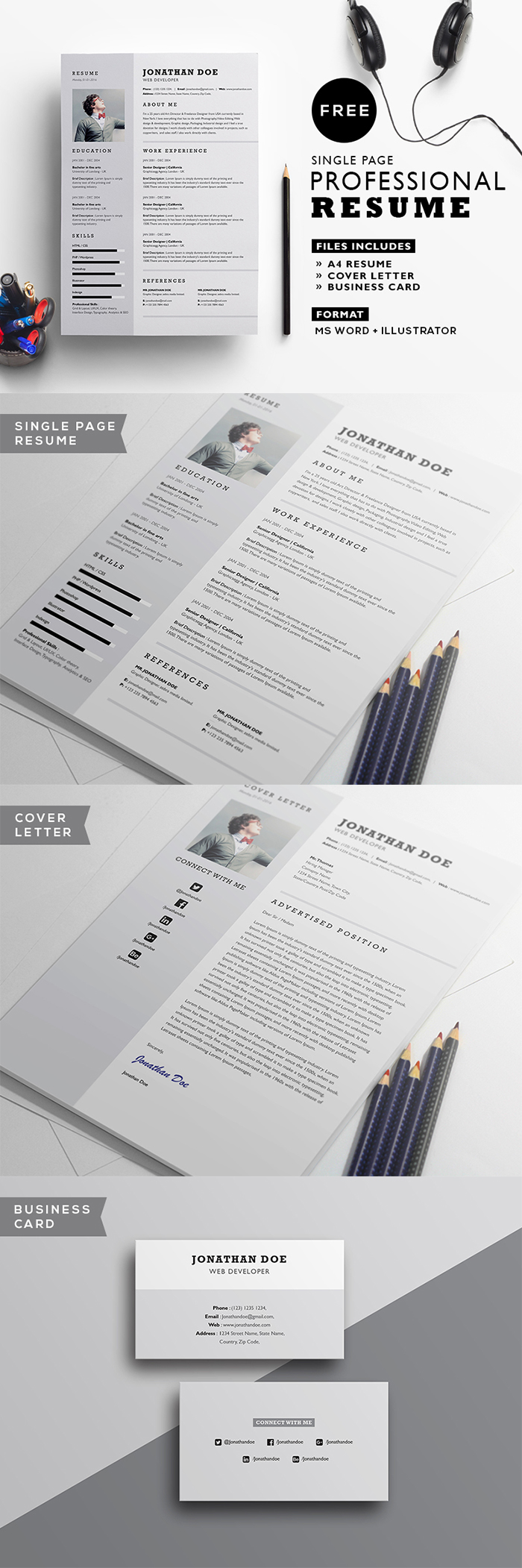 Free Professional Resume Template  Graphicsegg