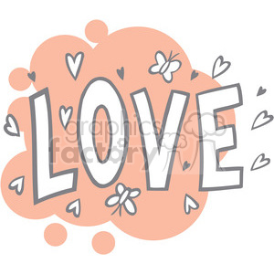 Royalty Free Word Love With Hearts 386655 Vector Clip Art