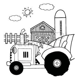 Vintage Tractor In Front Of Country Farm Clipart Royalty