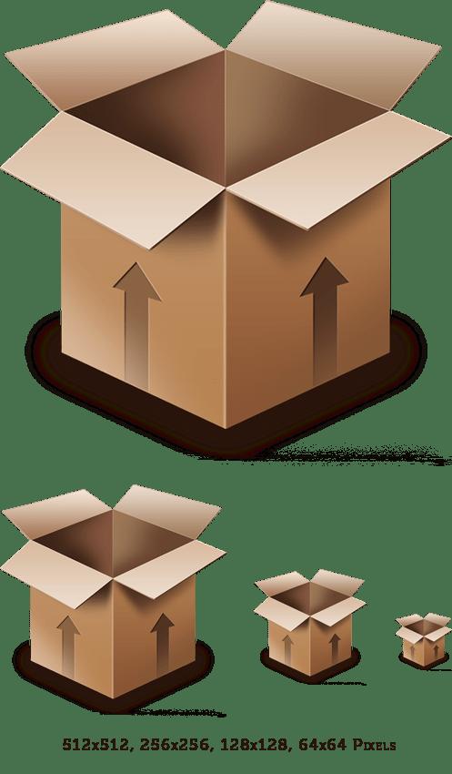 Cardboard Box PSD Icon - GraphicsFuel