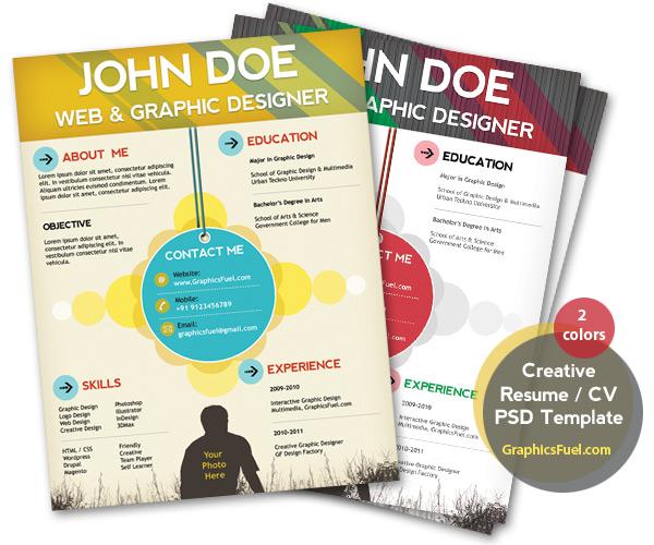 creative resume cv psd template cmyk print ready graphicsfuel