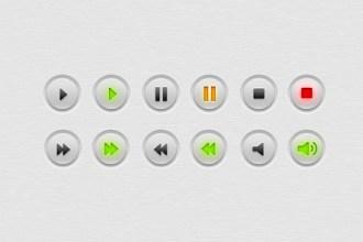 Multimedia (audio, video) buttons PSD