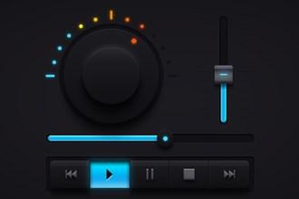 Dark Music UI Elements PSD