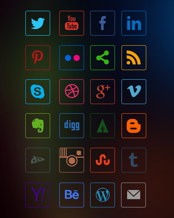 social-media-line-icons-dark