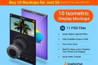 Isometric 3D Display Mockups