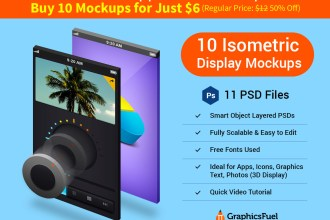 Isometric 3D Display Mockup