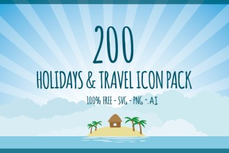 Exclusive Freebie: 200 Holidays & Travel Icons Pack