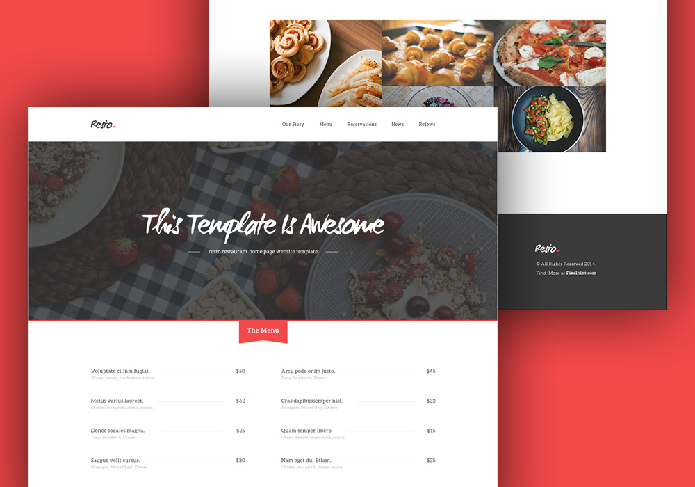 Free HTML5/CSS3 Restaurant Home Page Template - GraphicsFuel