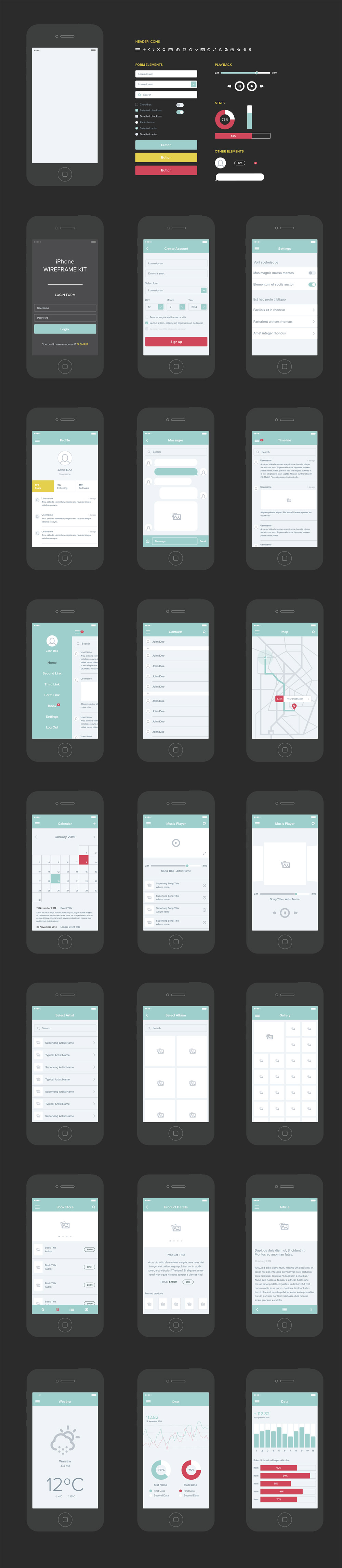Free Vector UX   UI Wireframe Kit   GraphicsFuel free mobile app ui kit