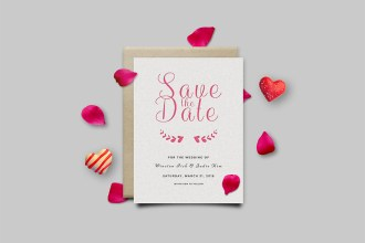 Save The Date Invitation Card Mockup PSD