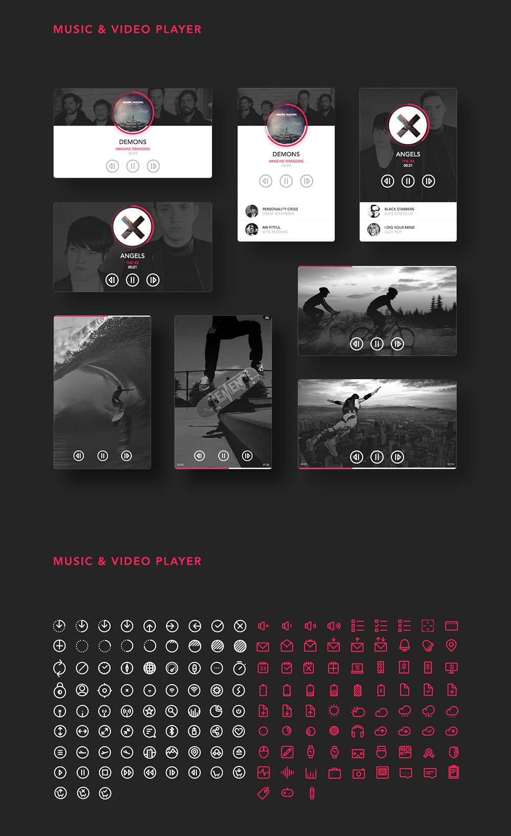 Free UI Kit PSD Icons