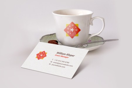 Business Card And Coffee Cup Scene Mockup PSD   GraphicsFuel