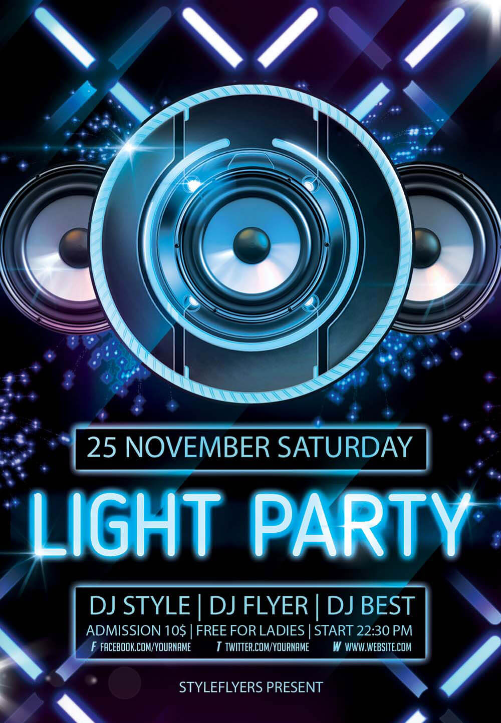 Light Party PSD Flyer Template