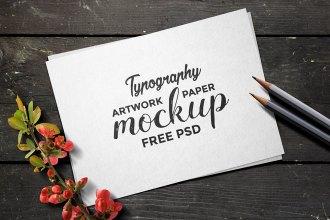 Typography Artwork Paper Mockup PSD