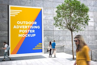 Outdoor Advertising Poster Mockup PSD