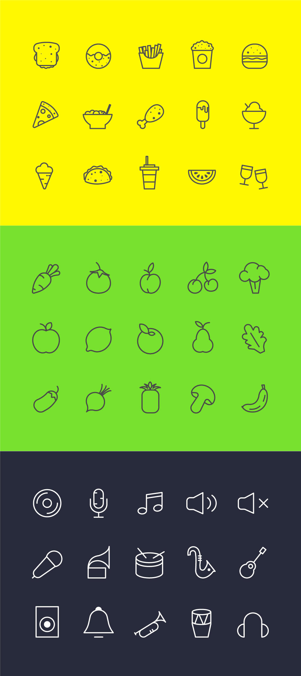 45 Free Icons For Food, Veg & Music