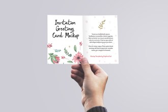 Free Invitation Card in Hand Mockup Design