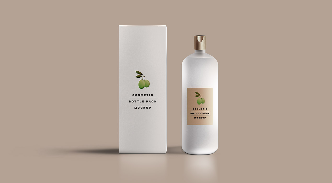 Download Cosmetic Bottle Packaging Mockup - GraphicsFuel