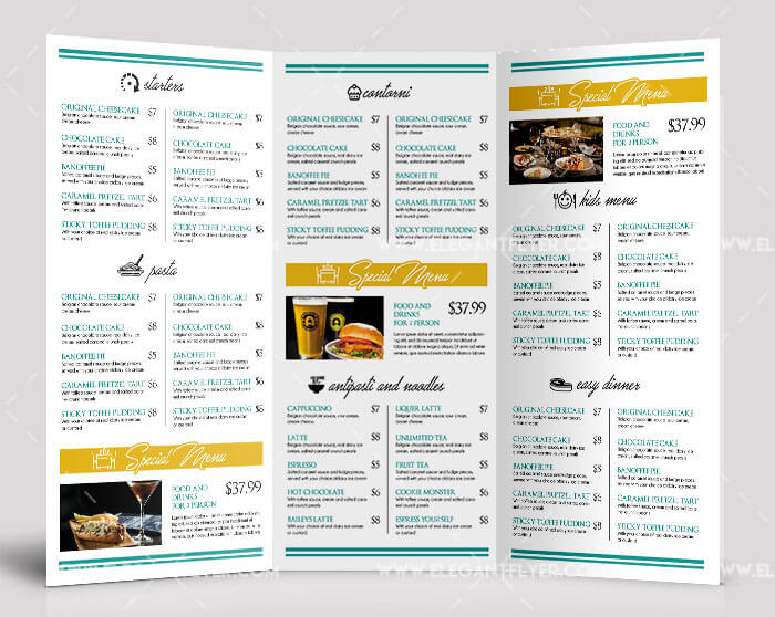 Free Food Menu Tri-fold Brochure PSD Template