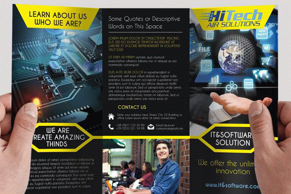 IT & Software – Free PSD Trifold brochure