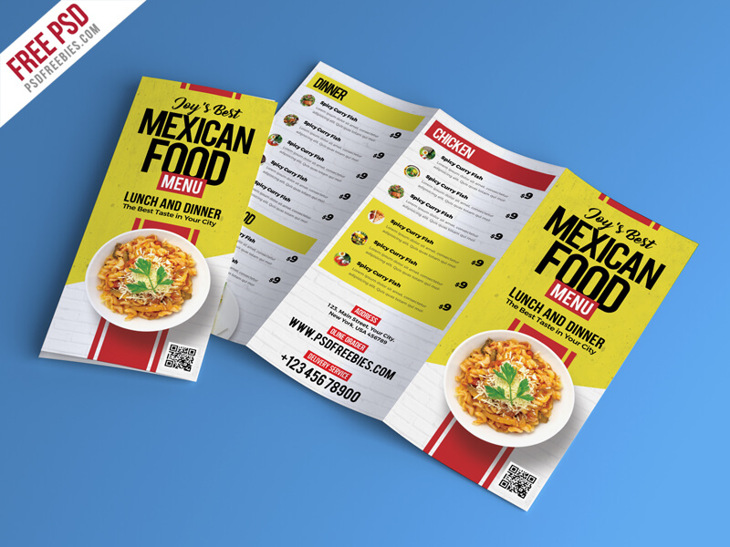 Free Food Restaurant Menu Brochure
