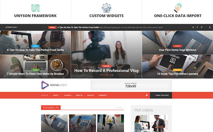 SocialVideo - Viral Youtube And Vimeo Video Magazine WordPress Theme