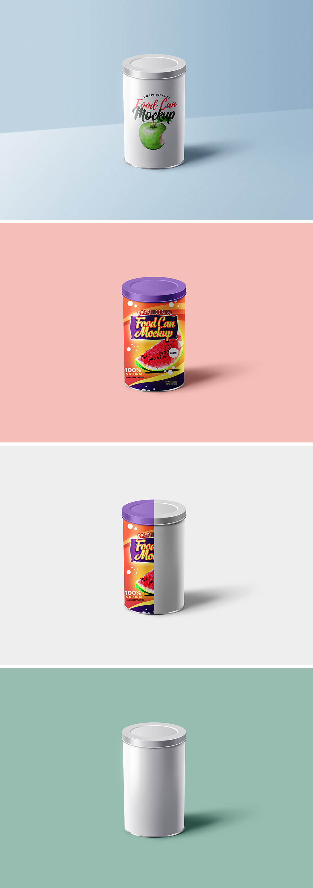 Food Can Mockup PSD