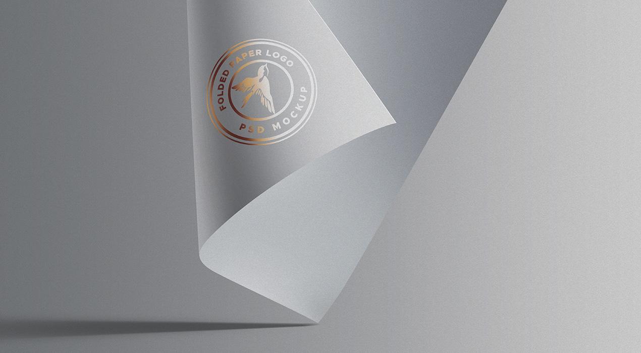PSD Folded Paper Logo Mockup