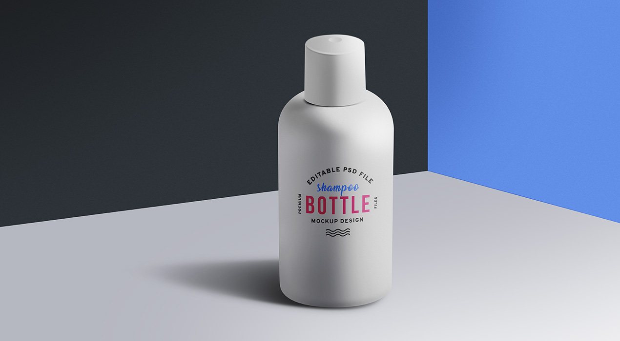 Cosmetic Shampoo Bottle Mockup PSD