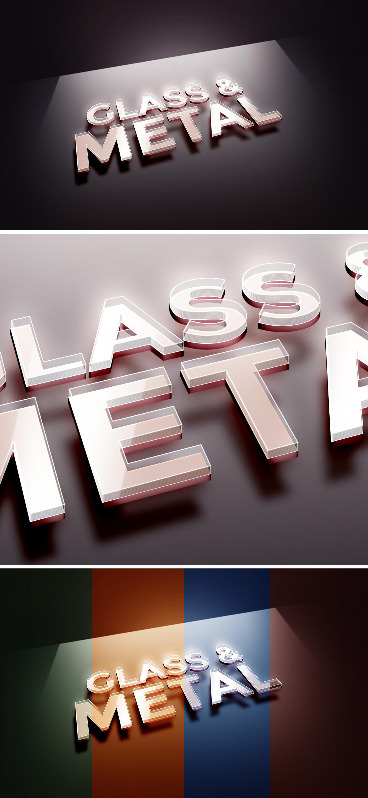 Glass Metal Text Effect PSD