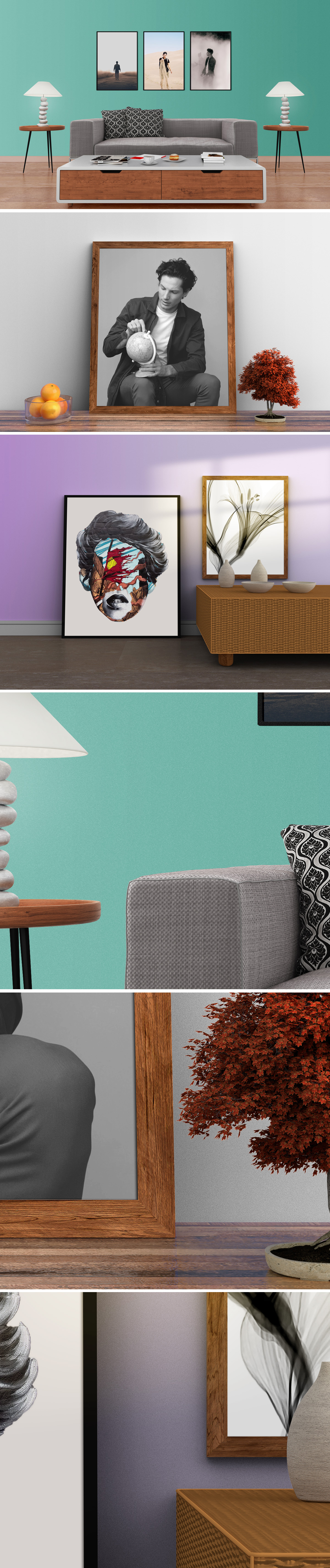 Home Interior Photo Frame Mockup PSDs