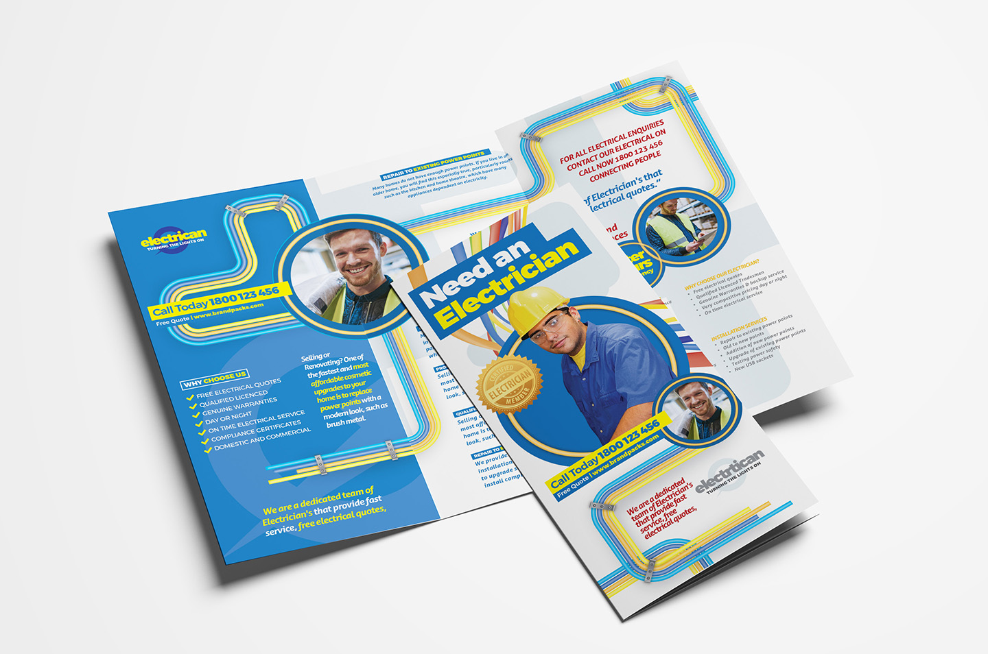 Electrician Trifold Brochure Template