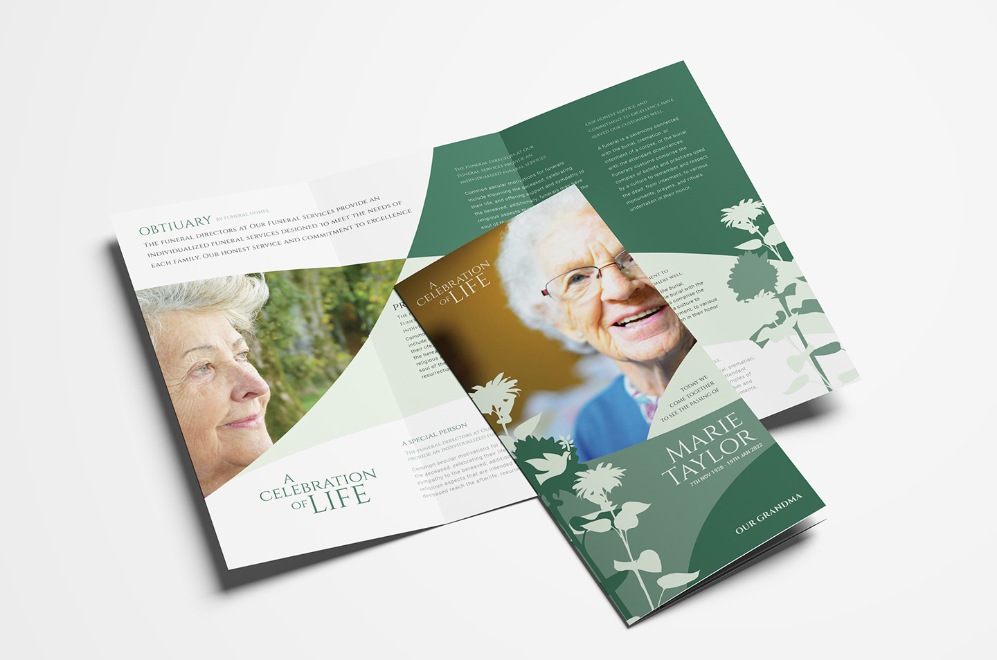 Funeral Service Trifold Brochure Template