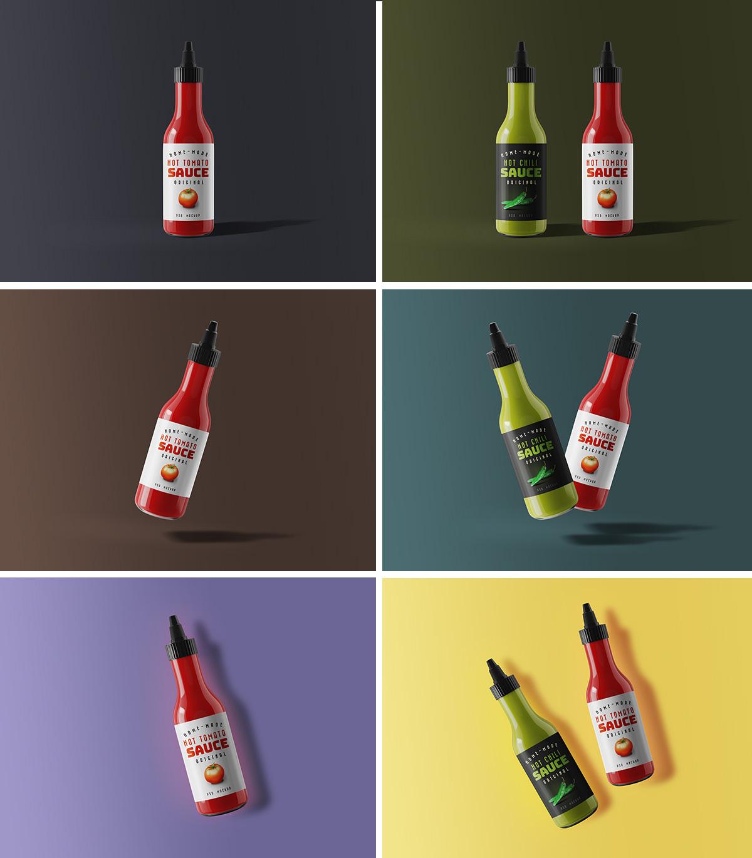 Sauce Bottle PSD Mockup