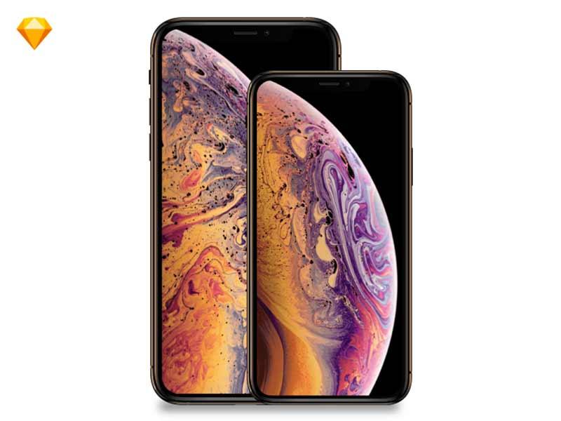 Apple iPhone Xs, iPhoneXsMax MockUp free Sketch